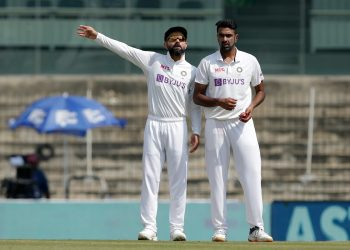 Indian skipper Virat Kohli with Ravichandran Ahwin (Image: BCCi/Twitter)