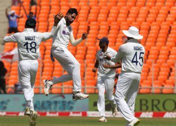 Mohammed Siraj of India celebrates the wicket of Jonny Bairstow of England during day one of the fourth PayTM test match between India and England held at the Narendra Modi Stadium, Ahmedabad, Gujarat, India on the 4th March 2021  Photo by Pankaj Nangia/ Sportzpics for BCCI