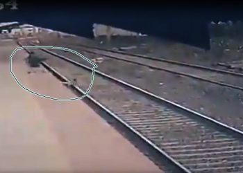 A Central Railway Pointsman MAYUR SHELKE raced before an oncoming local train to save a kid who fell on the railway track, at Vangani Station.