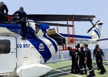 HAL's ALH Dhruv chopper undergoes ship-borne trials. Pic-IANS