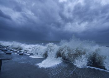 Rough sea in the Bay of Bengal ahead of Cyclone Yaas landfall, at Digha in East Midnapore district