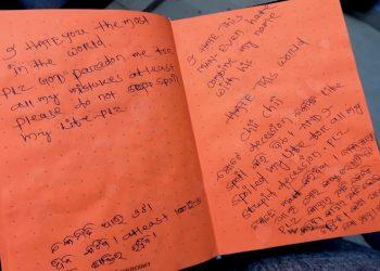 Handwritten note of wife Bidyabharati