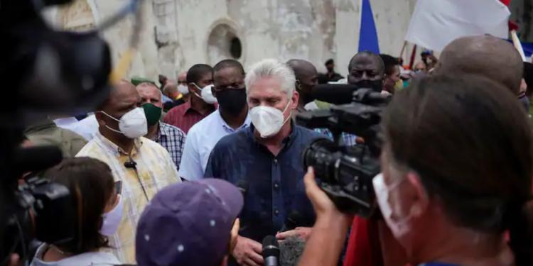 Cuban President Miguel Díaz-Canel in San Antonio de los Baños, Cuba, July 11. (Alexandre Meneghini/Reuters)