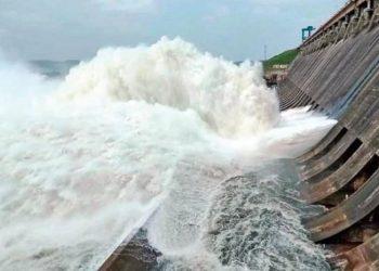 Two sluice gates of Hirakud dam closed