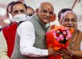 Gujarat CM Bhupendra Patel [L) and Deputy CM Nitin Patel [R]. (PTI Photo)
