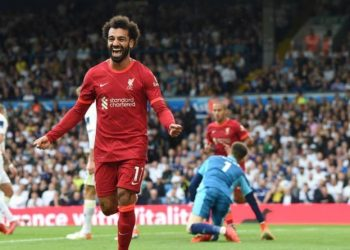 Mo Salah is ecstatic after scoring his 100th Premier League goal, Sunday