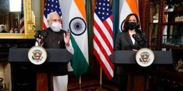 PM Narendra Modi and US Vice-President Kamala Harris during a press statement September 24, 2021. (Photo: Twitter/@MEAIndia)