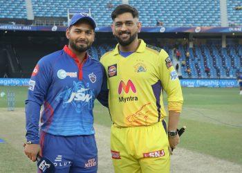 Mahendra Singh Dhoni and Rishabh Pant pose before the toss for the shutterbugs in Dubai